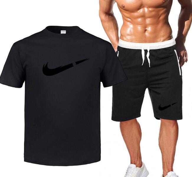 2020 homens novo conjunto de duas peças de moda casual terno de algodão puro, impressão de cheques essência esportes de verão