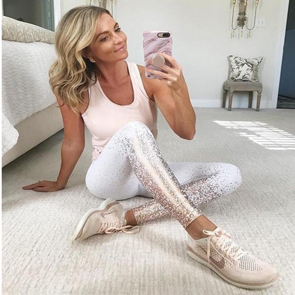 Fashion-Yoga gilding Leggings Fitness Metallic Casual Sports Tights High Waist Running Gym Sportswear Slim Pants Capris LJJA2313