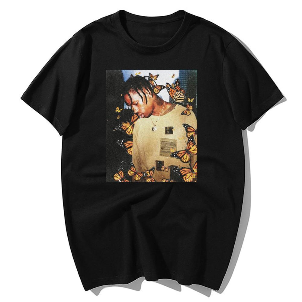 Moda Travis Scott T shirt Effetto Butterfly Music Rap Album Cover uomini 100% del fronte di estate del cotone di Hip Hop supera le magliette S-3XL