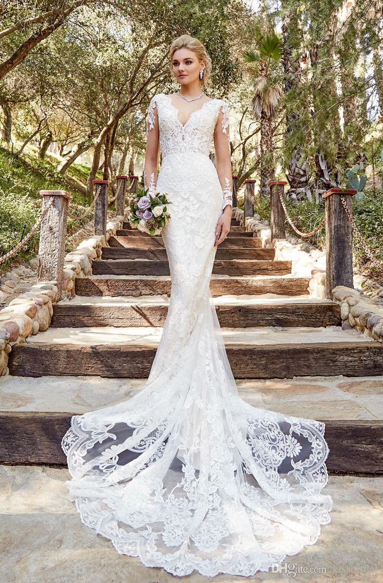 Vestido de Novia Mermaid Wedding Dresses Long Sleeve V Neckline Sheer Bodice Lace Wedding Dress 2019 Bridal Gowns for Bride