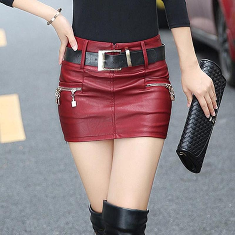 New Fashion Slim Was Thin Package Hip Women Skirt Short Big Size Leather Skirt Sexy Mini Pencil Red And Black Jupe MZ1355