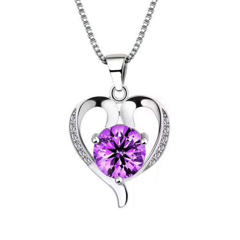925 Sterling Silver Jewelry Fashion Women Lovely Beautiful Pendant Necklace Korean Jewelry Wholesale Item Rhinestone Wedding Necklaces