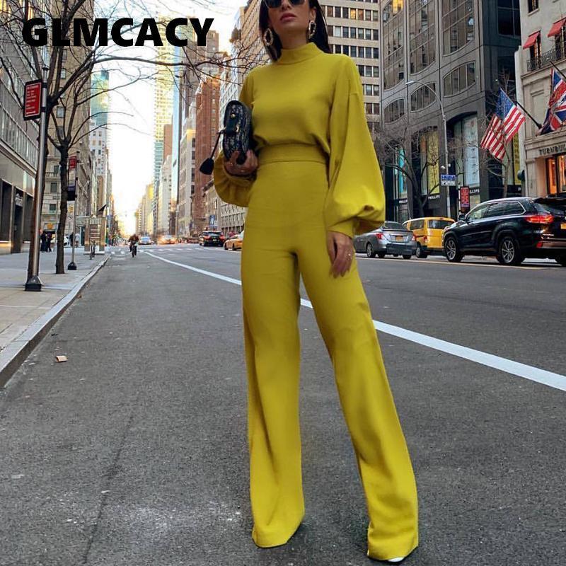 Women Spring Fashion Elegant Office Lady Workwear Casual Long Jumpsuits High Neck Lantern Sleeve Wide Leg Overalls MX190726