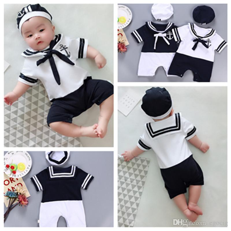 Newborn Baby Girl Boy Short Sleeve Sailor Collar Striped Romper Outfits Clothes
