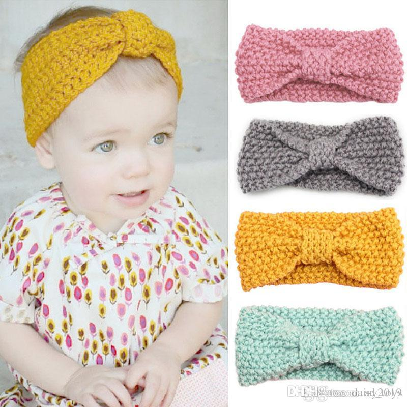 Orelha do bebê Arcos Faixa de Cabelo Knot Crochet Baby Girl Headbands Pérola Flor Warmer malha recém-nascido Headband Haarband