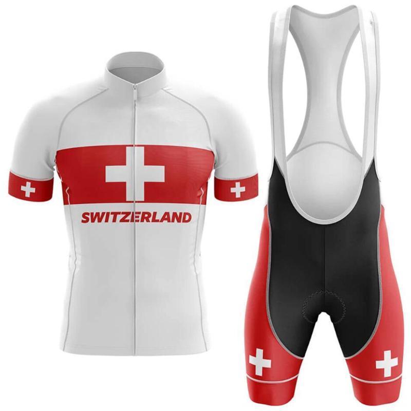 2020 Новый Швейцарский национальный флаг красный задействуя костюм летний велосипед Uniform задействуя Джерси велосипеда Set Mountain Гонки Спортивная одежда