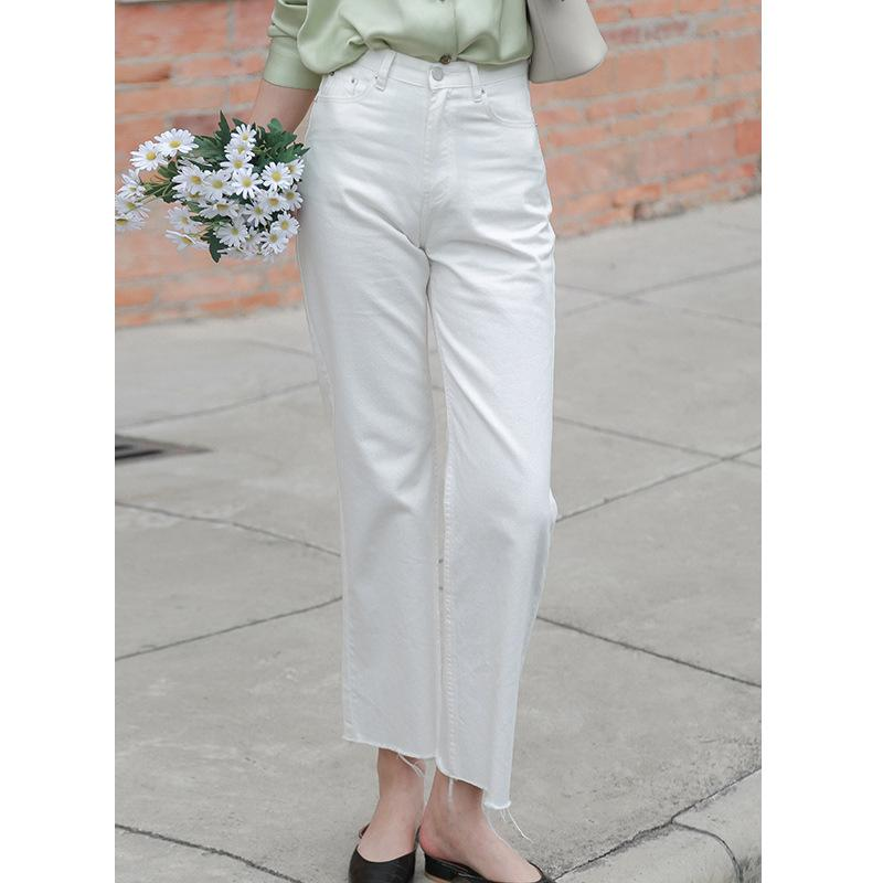 Clean space 2020 Spring New Style White Wide-Leg Jeans Harajuku-Style Versatile Flash Slimming Straight-Leg Trousers