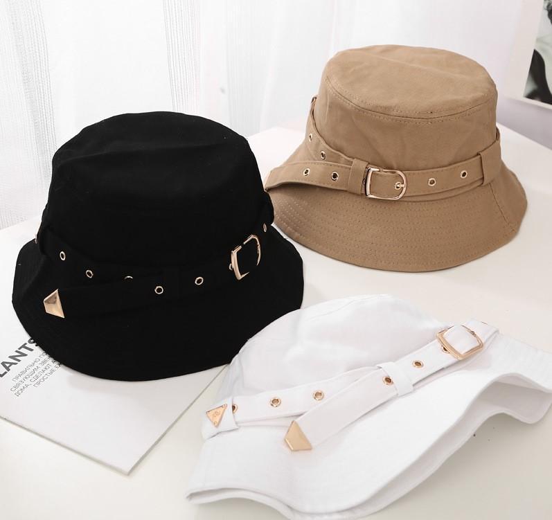 2020 Sınır ötesi yeni stil kişiselleştirilmiş kemer tokası balıkçı şapka kadın güneş moda öğrencilerin havza şapka yaz Joker severler şapka
