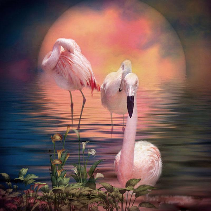 Flamingo 5D DIY Mosaic Diamond Painting Cross Embroidery Set Diamond Embroidery Block Diamond Home Decoration Wall Art