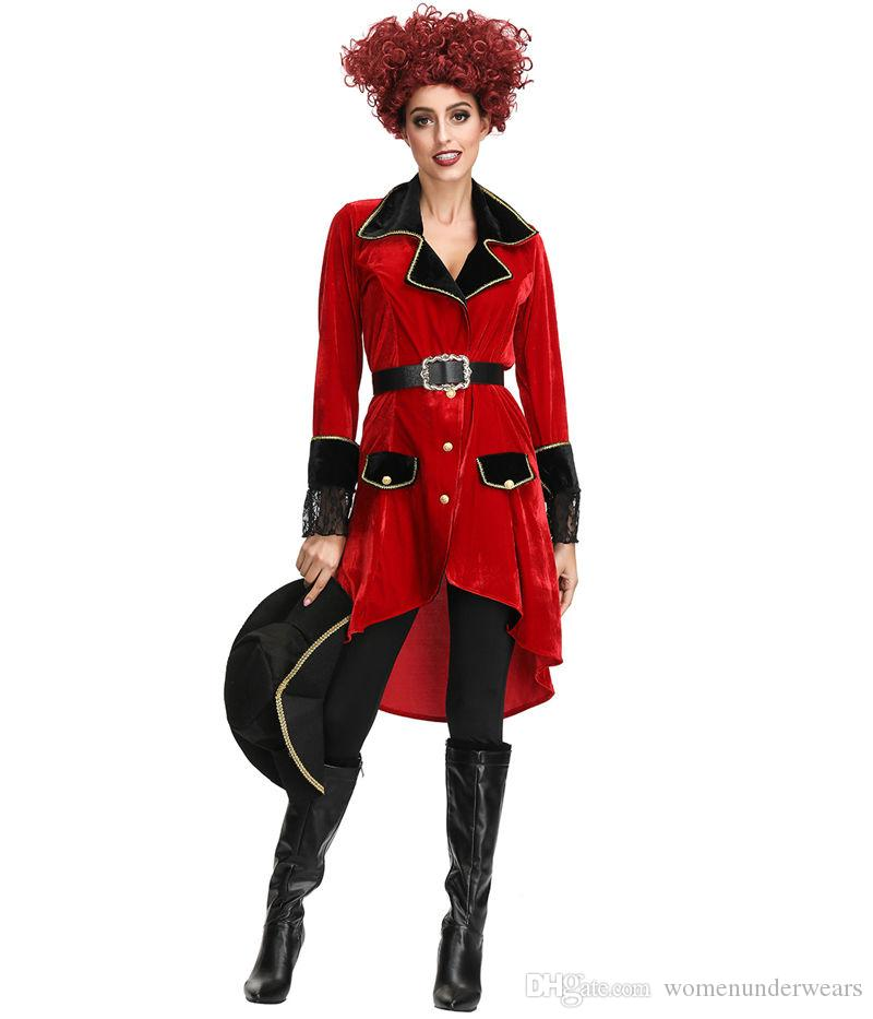 Medium//Long Red Halloween Wholesalers Pirate Assassin Black and Red Costume