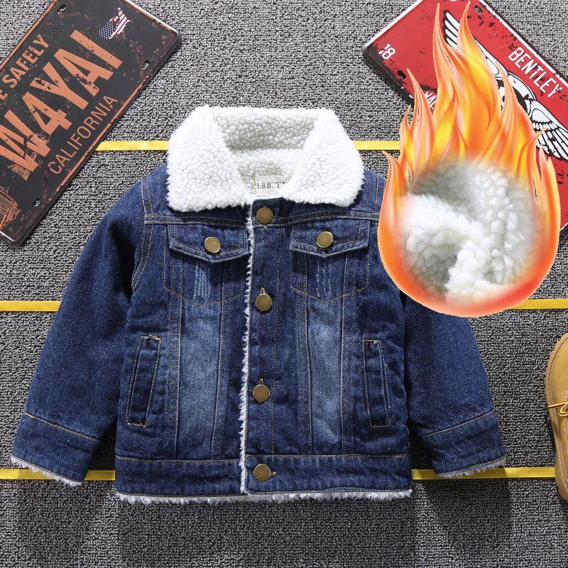 Meninos denim casacos de inverno moda infantil grossa outerwear veludo para bebés crianças casacos quentes roupas meninos doorout roupas