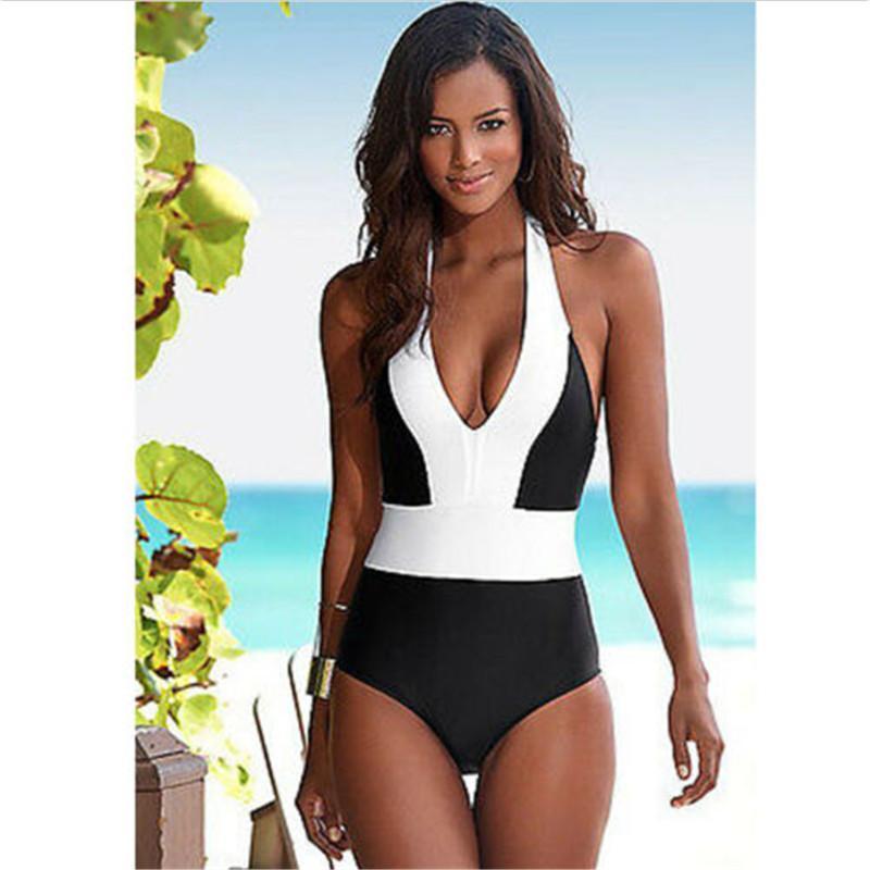 New One Piece Swimwear Mulheres Sexy Halter desgaste da praia brasileira Swimsuit Black White Patchwork Push Up Terno Mulheres Monokini