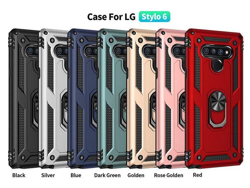 Für LG Stylo 6 K51 Magnetic Auto-Halter Handy-Fall für Samsung Galaxy A21 A11 A01 A21S mit Ständer Abdeckung D1