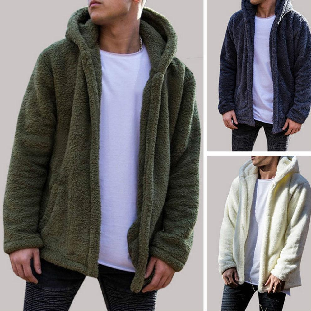 الشتاء الدافئ الرجال الشتاء سميكة هوديس قمم رقيق الصوف الفراء سترة مقنعين معطف قميص طويل الأكمام بالأزرار