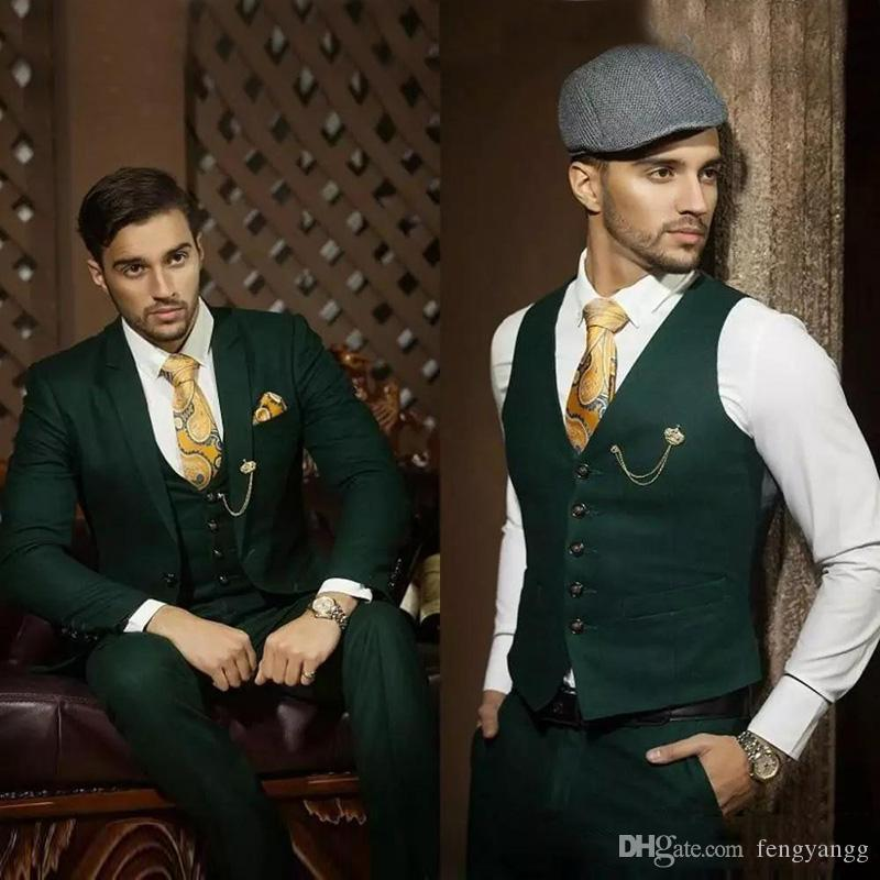 Dark Hunter Green Men Костюмы свадебные костюмы Вечерние платья Blazer Groom Tuxedos Зубчатый отворот Slim Fit Пром деловой костюм куртка + брюки + жилет