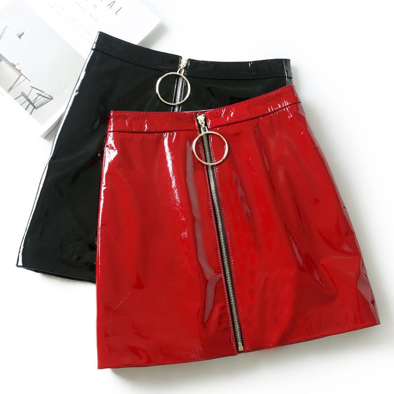 Kadın Etek Rahat Zip Faux Deri Kalem Bodycon Diz Üstü Mini Etek Artı Boyutu Faldas Mujer Jupe Femme
