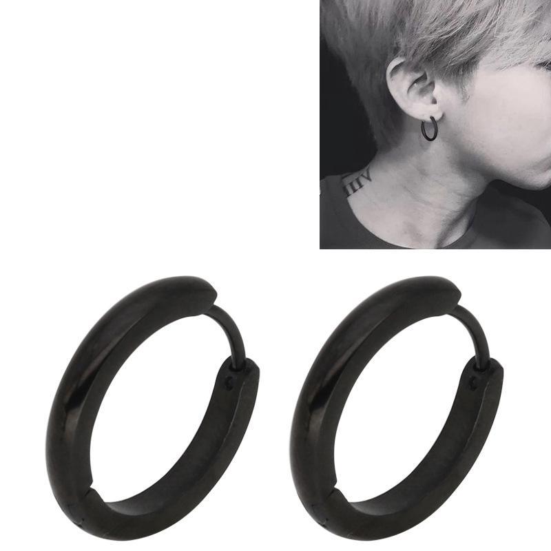 Pendientes de acero de titanio inoxidable de moda europea y americana arco clásico línea de círculo pequeña hebilla de oreja de doble cara conjunto explosivos Pendientes