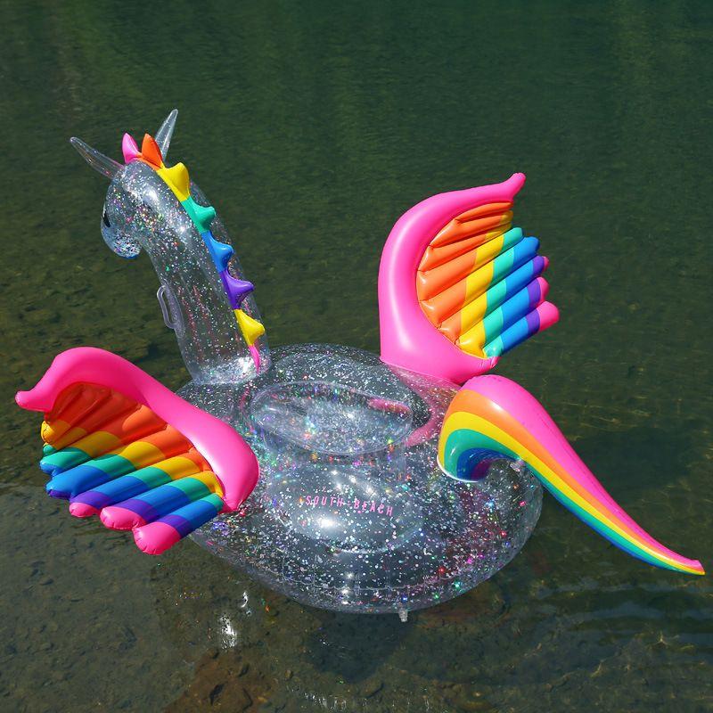 Transparent Regenbogen-Pegasus-Pferde Pool Float Aufblasbare Holographic Glitter Erwachsene Kinder-Wasser-Spaß-Spielzeug-Einhorn Schwimmring 180cm Neu kommen