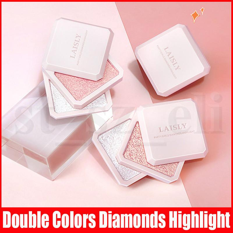 LAISLY Double Colors Facial Shiny Highlighter Waterproof Long Lasting Brighten High Gloss Face Contour Shimmer Highlighting Powder