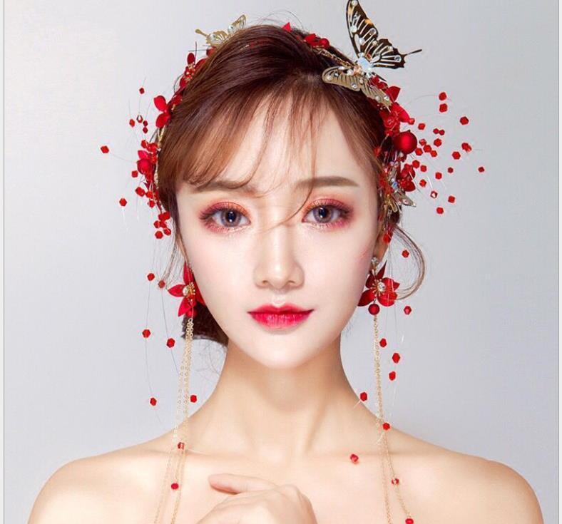 Невеста свадьба тиара невеста тост одежда красные цветы новый корейский свадьба оголовье