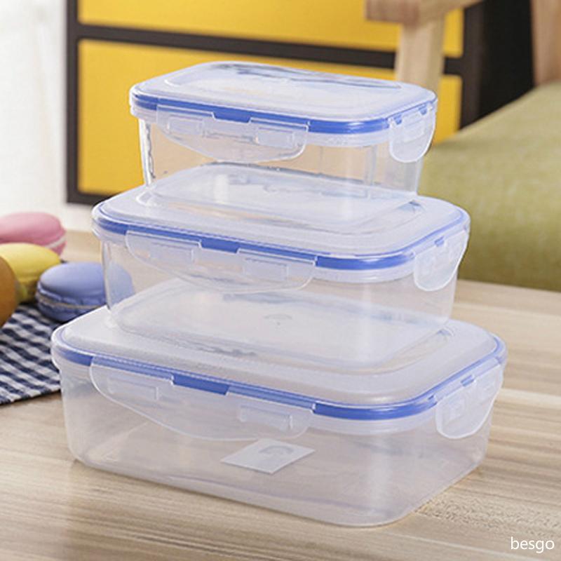 500/820 / 1100ml Plastikaufbewahrungsbehälter Mikrowelle Lunch Box Kühlschrank Lagerung Imbiss Sealed Lunch Box Kitchen Storage Organisation BC BH3104