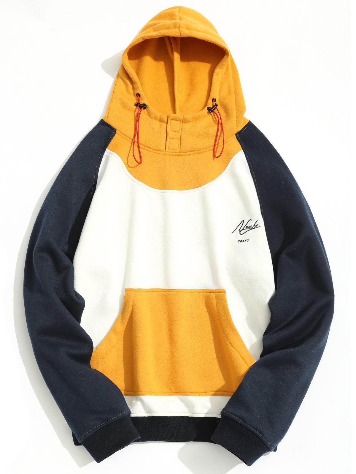 Spring Autumn Color Block Men Fleeced Hoodies Kangaroo Pockets Casual Sweatshirts Male Pullover Fashion Outwear Tops Free Shipping