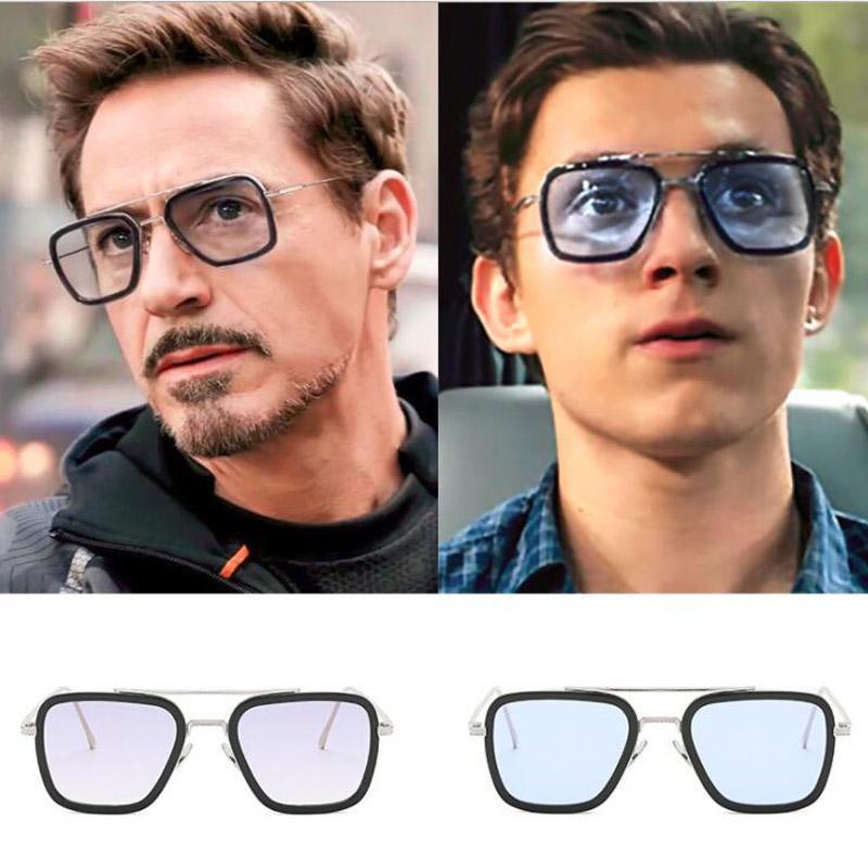 Роскошные модные солнцезащитные очки Tony мужчины бренд дизайнер квадратный Железный Человек 3 солнцезащитные очки мужской Oculos металлическая рамка ретро очки