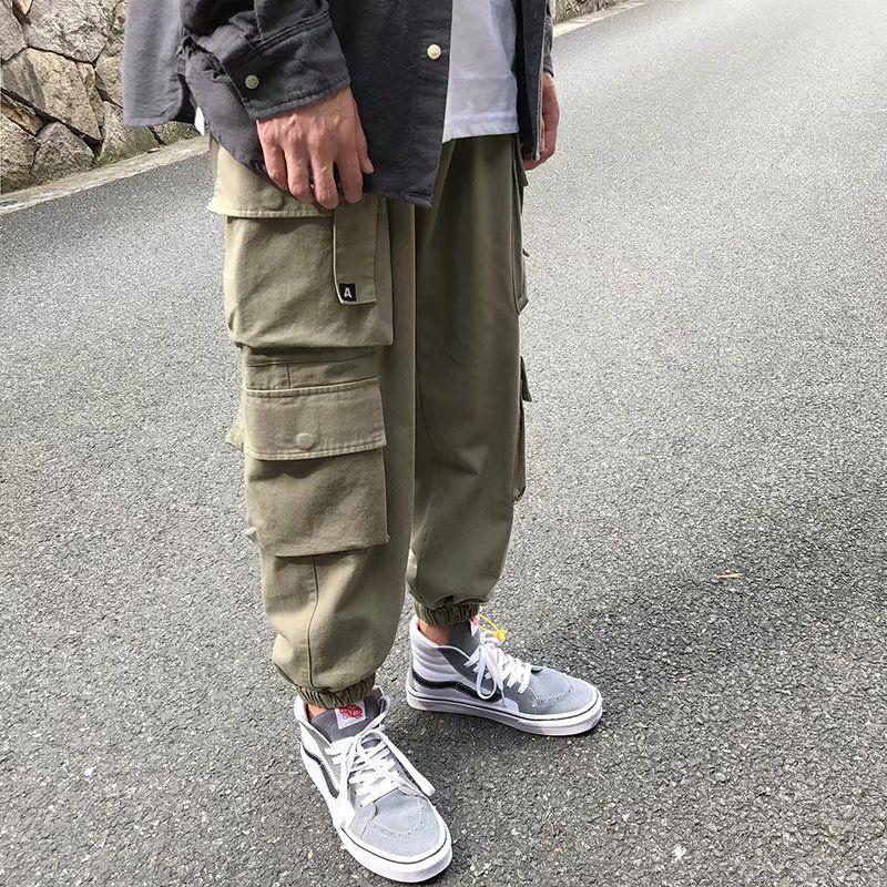 Uomo Nero Tasche Cargo Pants 2020 Harem Mens Hip Hop Streetwear Pantaloni felpa inverno casual jogging 5XL