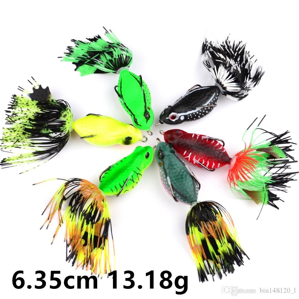 6 Couleur 6.35cm 13.18g Frog Pêche Crochets Hameçons Crochet double Leurre souple Appâts Leurres Pesca Pêche Tackle B14_53