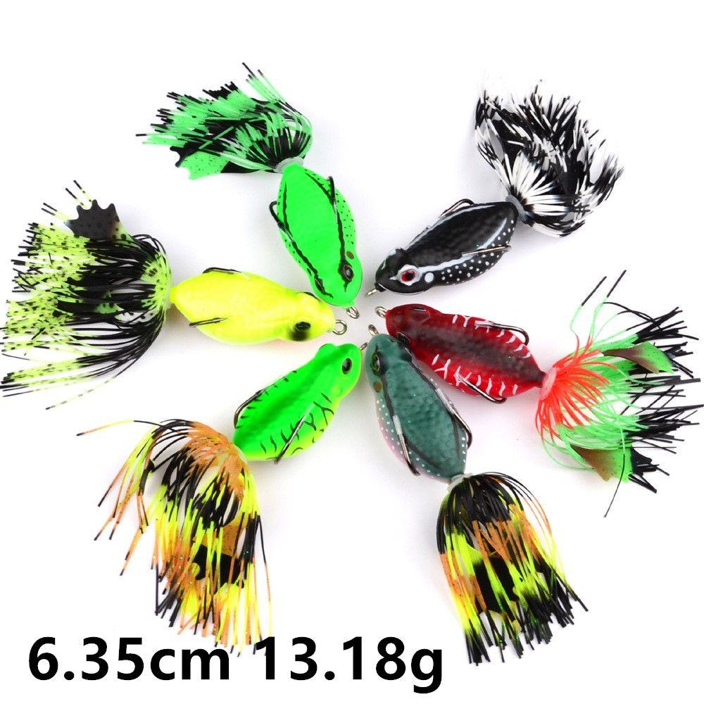 6 6,35 cm Color de la rana 13.18g de anzuelos anzuelos doble gancho de pesca señuelo suave Cebos Señuelos Pesca Caza y Pesca B14_53