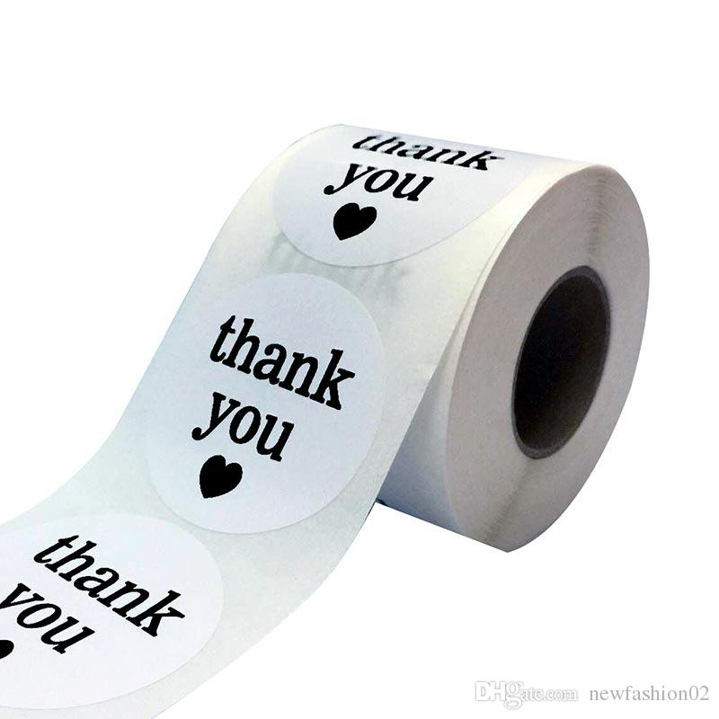 1inch white roll thank you gift package self adhesive sticker label 1000pcs round bag packing sticker label DIY baking label sticker