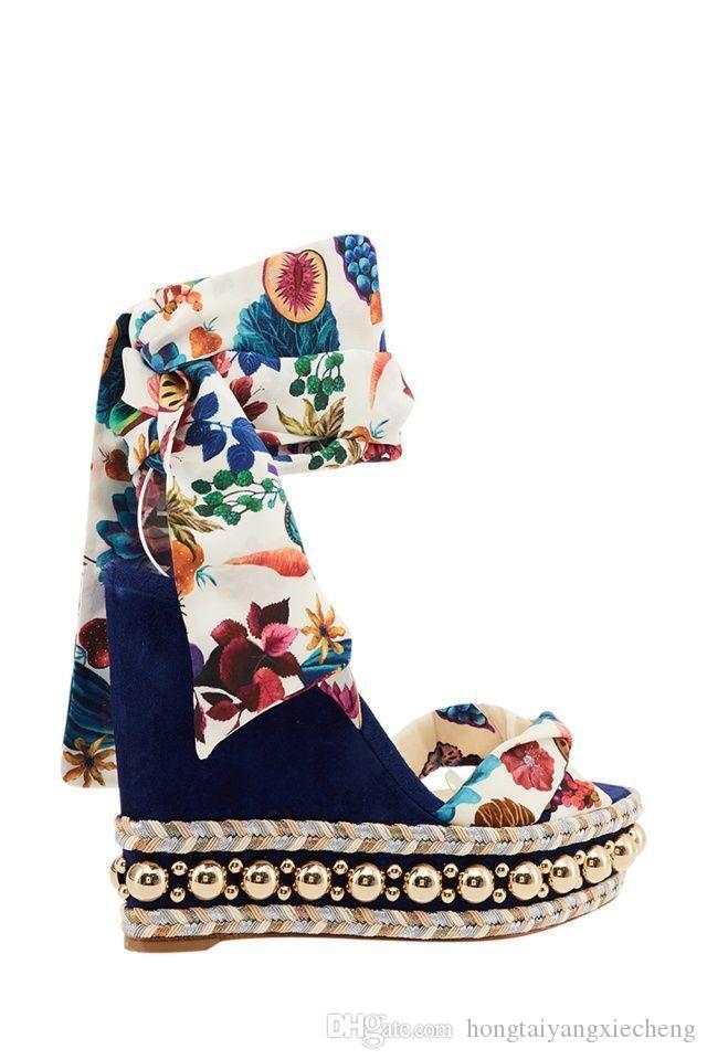 Señoras perfectas Rojo sandalias inferiores levantina para el graffiti manchas tobillo Corbata altos talones de las mujeres vestido de novia partido de las mujeres sandalias de gladiador