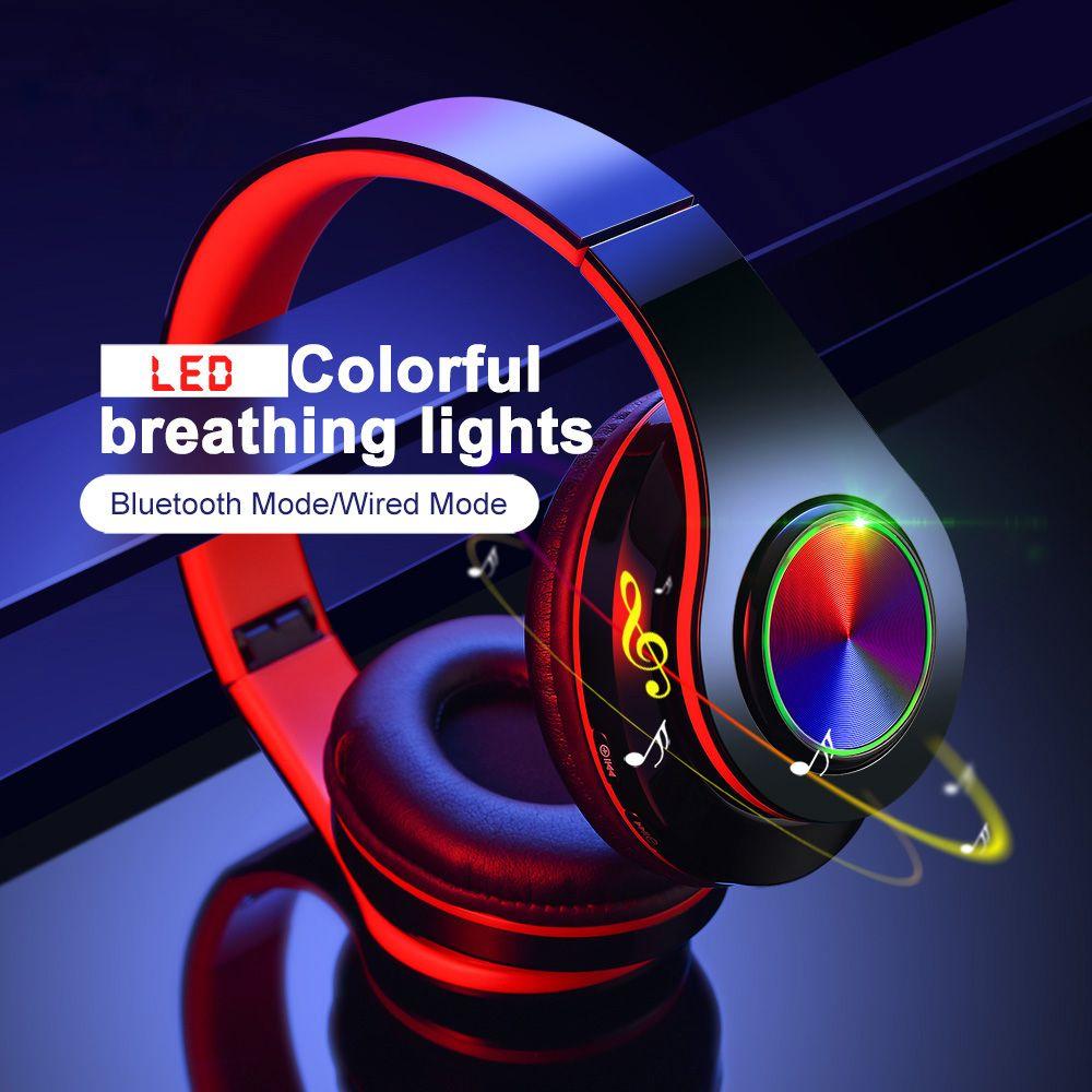 LED Respiração luzes coloridas Folding portátil Built-in FM sem fio Bluetooth Headphones Com MIC Suporte TF Card Player Mp3