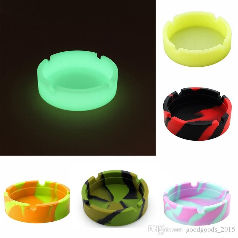 Silicone Soft Round Ashtray Ash Tray Holder Luminous Portable Anti-scalding Cigarette Holder Multicolor Eco-Friendly DLH006