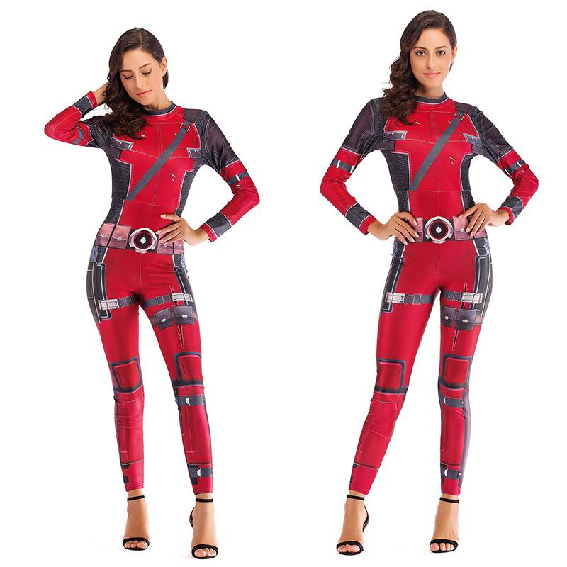Women Comedy Deadpool Cosplay Costume Adult Super HERO Movie sexy Jumpsuit Halloween Party stage performance Catsuit Bodysuit