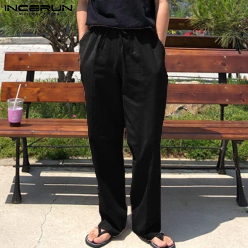 Мужские брюки мужские повседневные пробежки хлопковое белье сплошные ретро шлюжки на стрижках Урожай уличные брюки Hombre 2021 Incerun S-5XL