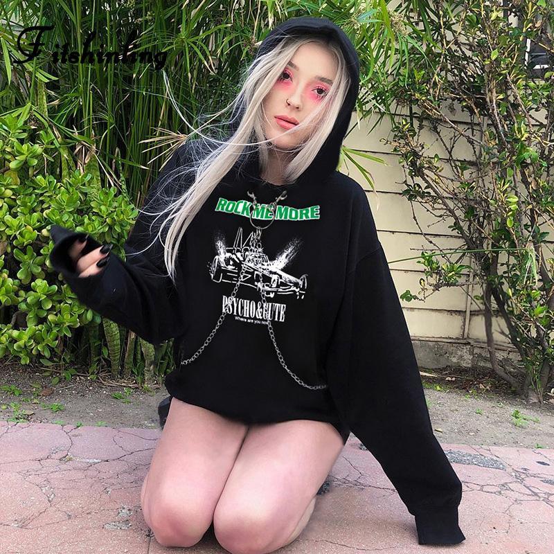 Fitshinling Goth foncé chaîne Hoodies Femmes 2019 Coton Hiver Imprimer Hoody Noir Harajuku Punk grunge Sweat à capuche Femme Nouveau