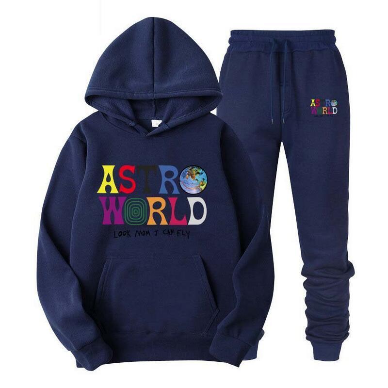 Caliente 2020 nuevos hombres de la Mujer y del suéter con capucha casuales pantalones de deporte Conjunto + Deportes de dos piezas TravisScotts AstroWorld