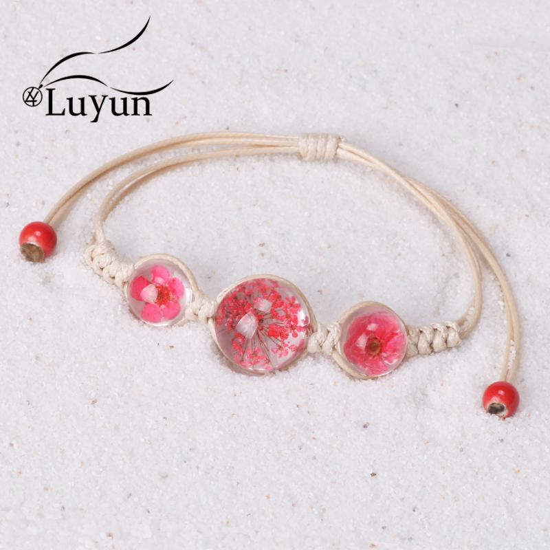 Luyun Armband weibliche Pflanze Getrocknete Blumen-Armband Adjustable Seil Bohemian Ethnic Halskette Großhandel