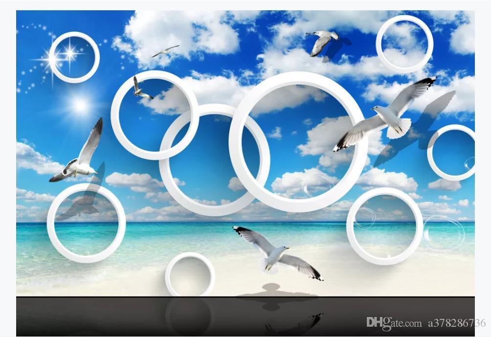 3D индивидуальные большие фотообои обои в средиземноморском стиле голубое небо море круг чайка 3D спальня диван фон росписи