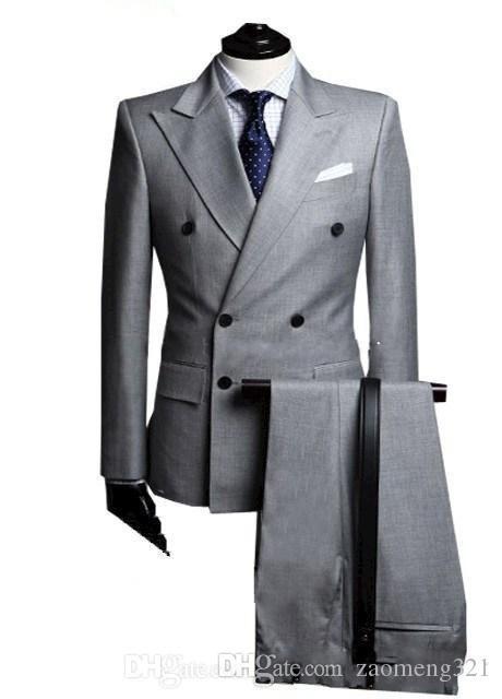 Kruvaze Yan Havalandırma Açık Gri Damat Smokin Tepe Yaka Groomsmen Erkek Düğün Smokin Balo Takımları (Ceket + Pantolon + Kravat)