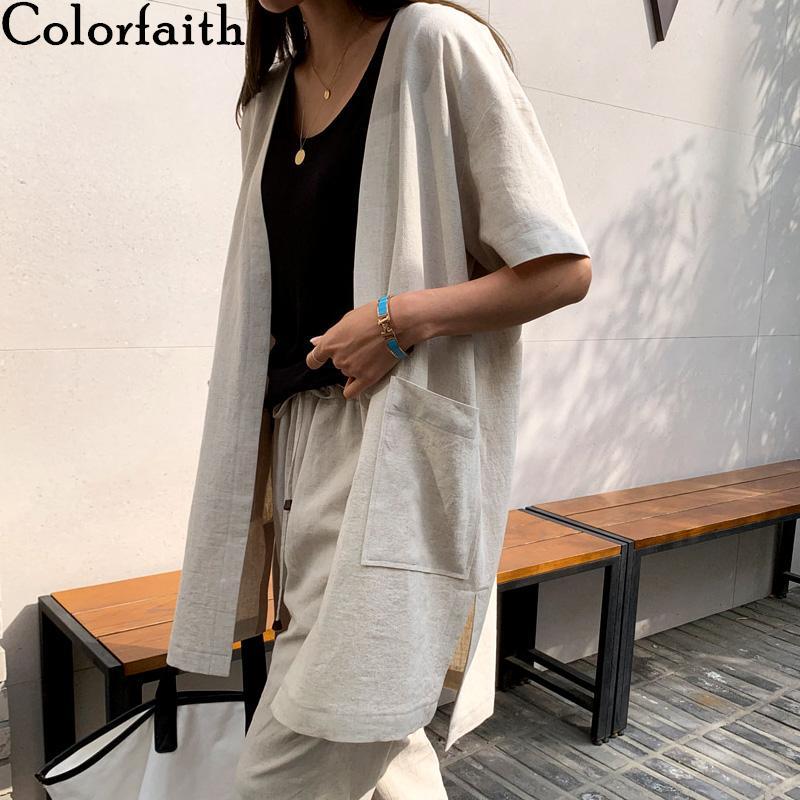 Colorfaith nouvelles 2020 femmes d'été Blouse Chemises simples poches Vintage Minimaliste mode Slit en vrac ouvert Mailles Tops BL6022