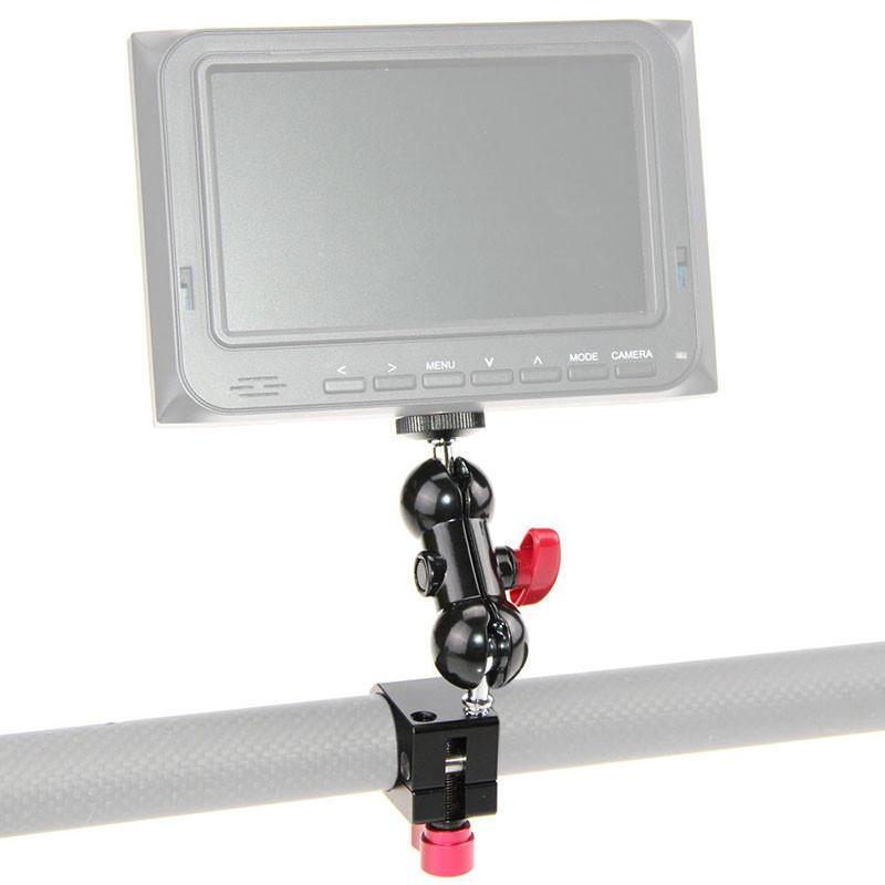 Rod Clamp+ 14 Hot Shoe Adapter 360 Rotating Monitor Mount for DSLR Camera DJI Ronin-M Handheld Gimbal LED Flash Light C1169 (2)