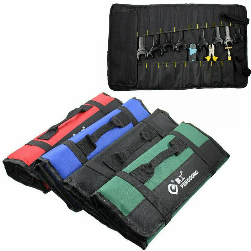 QUALITY  CANVAS TOOL ROLL  Pocket Spanner Wrench Tool Storage Bag Case Fold Up