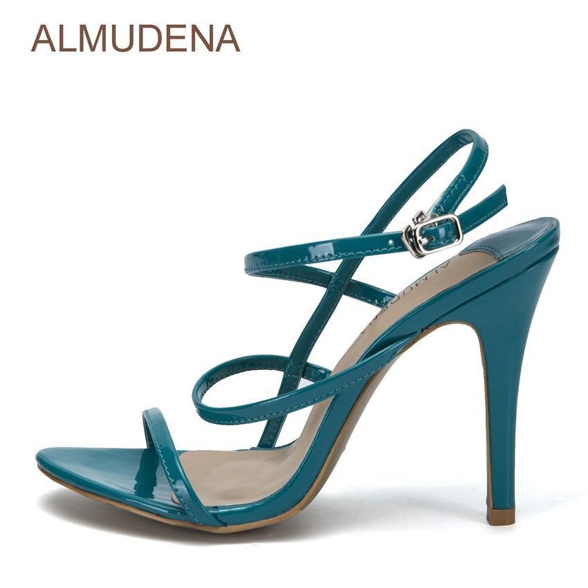 ALMUDENA Jovens Meninas Graciosa Lago Azul Sandálias De Couro De Patente Salto Alto Sapatos de Vestido Irregular Cortado Tiras Sandálias de Desconto