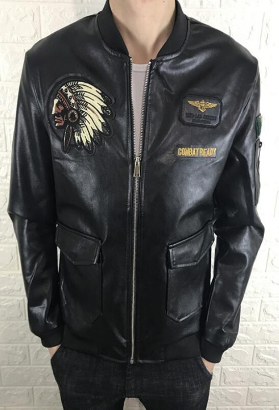 New men's leather collar collar fashion casual baseball uniform leather jacket embroidery head locomotive street warm jacket