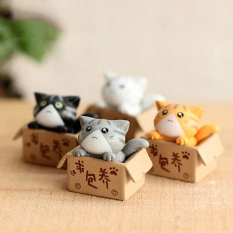 4pcs / Set Resin Cat Kitty Modelo Kitten Artesanato Cesta bonito do cachorrinho animal cão estatueta em miniatura DIY Fairy Garden Bonsai Decoração