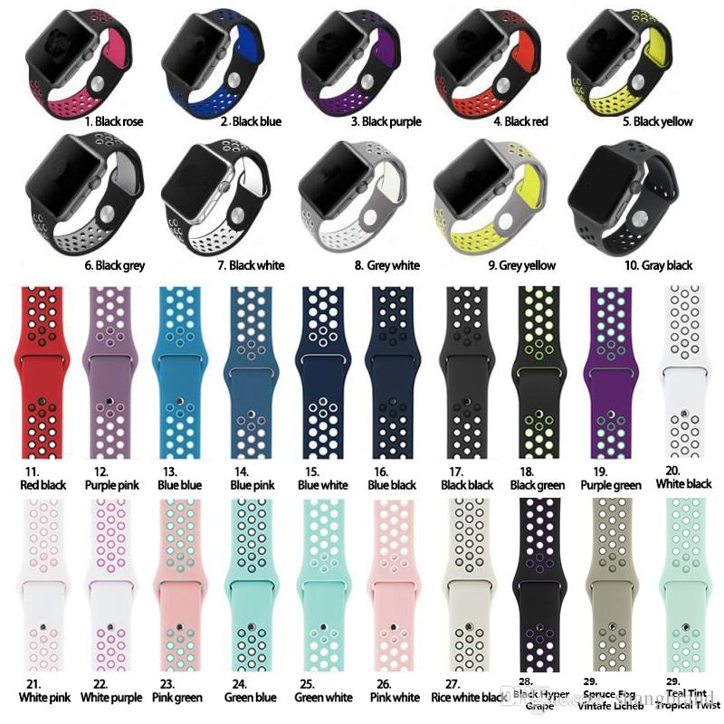 high quality 42mm 38mm 40mm 44mm watch strap for iwatch sports link bracelet for apple watch band silicone sports watchband