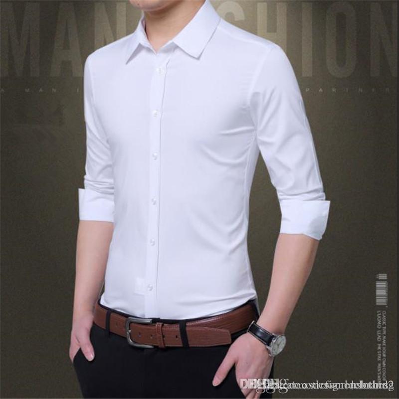 Sonbahar İnce Elbise Gömlek Katı Renk Tasarımcı Uzun Kollu Yaka Boyun Erkek Gömlek Moda Skinny Parti Erkek Gömlekler