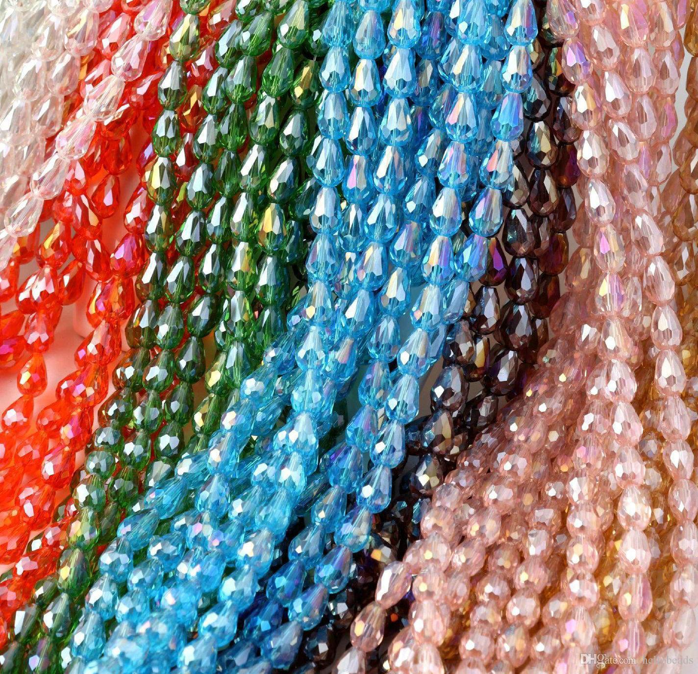 6x8mm Colorful AB Tear-drop perline di vetro cristallo sfaccettato per orecchini bracciale collana FAI DA TE GIOIELLI